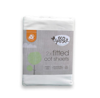 Ecosprout Certified Organic Embroided Cot Sheet set - 1 Cot top sheet & 1 fitted sheet