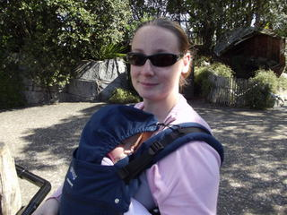 A day at the zoo with Sydney (nearly 10 months) fast asleep in the Manduca