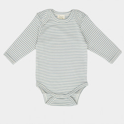 Nature Baby Organic Cotton Long Sleeve Bodysuit - Pond Stripe - 3-6 months (00)