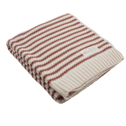 Nature Baby Organic Cotton Seed Stitch Cot Blanket - Rust Stripe