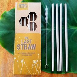 Straws Stainless Steel - The Last Straw Pack of 4 Plus Cleaner