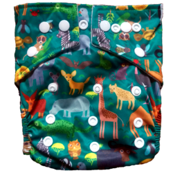 Hippybottomus Stay Dry Bamboo Cloth Nappy - Zoo